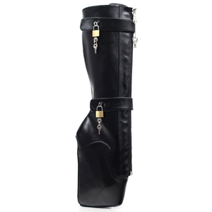Image 5 - Jialuowei Frauen Sexy Stiefel 18 cm Hohe Keil Ferse Heelless Sohle Abschließbare vorhängeschlösser Knie Hohe Ballett Stiefel Unisex schuhe