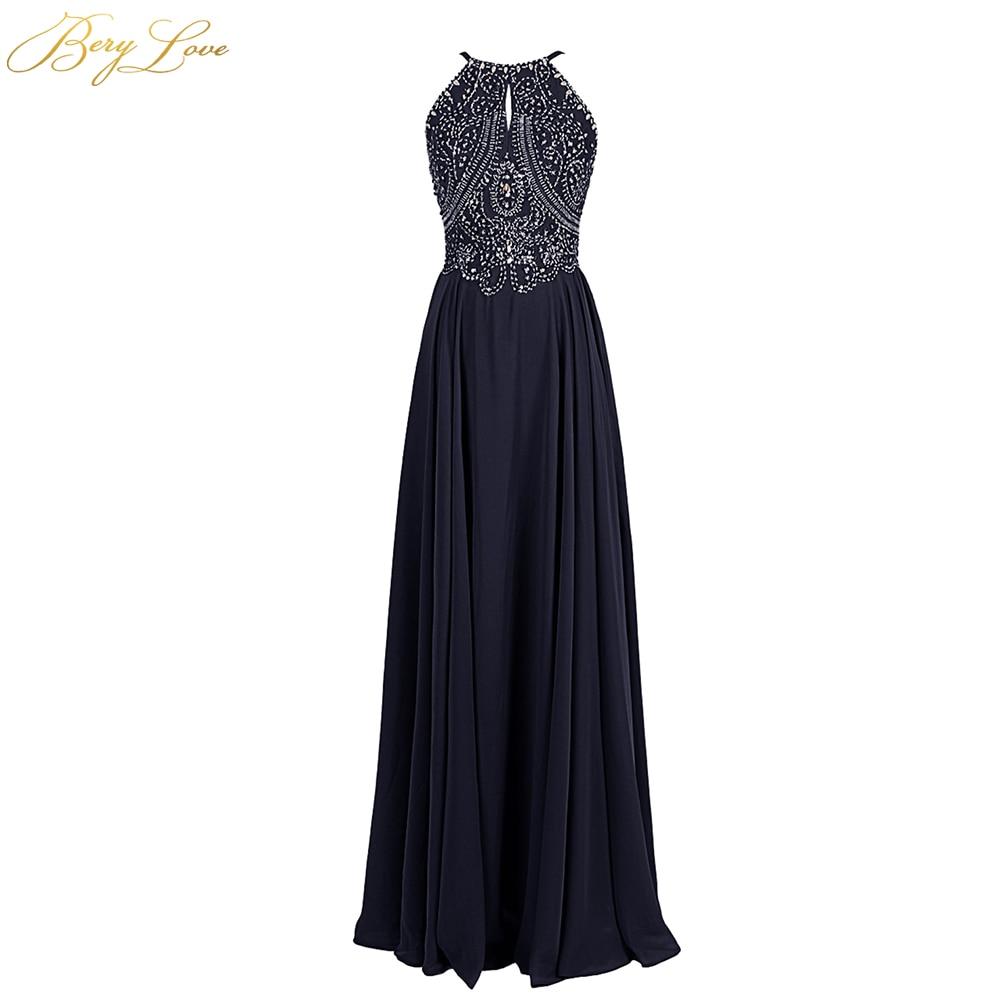 Berylove bleu marine robe de soirée formelle 2019 longue mousseline de soie perles bal robe formelle vêtements de soirée pour femme robe de soirée robe de soirée