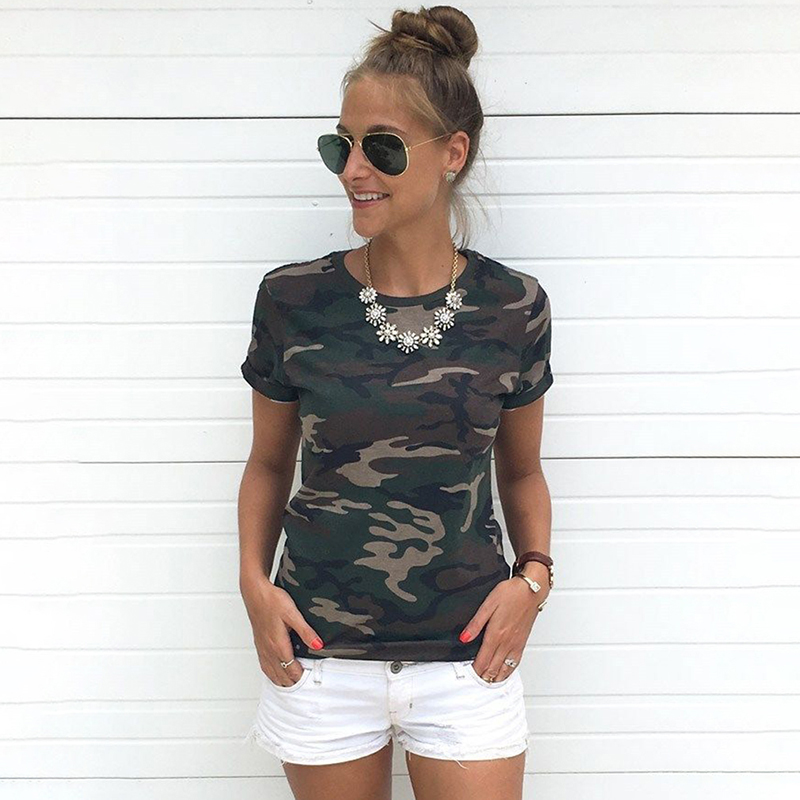 Fashion T-shirt Female Blusa Tumblr Camouflage Prints Tops Short Sleeves Women T Shirt Military Uniform Casual Top Tees HO938111