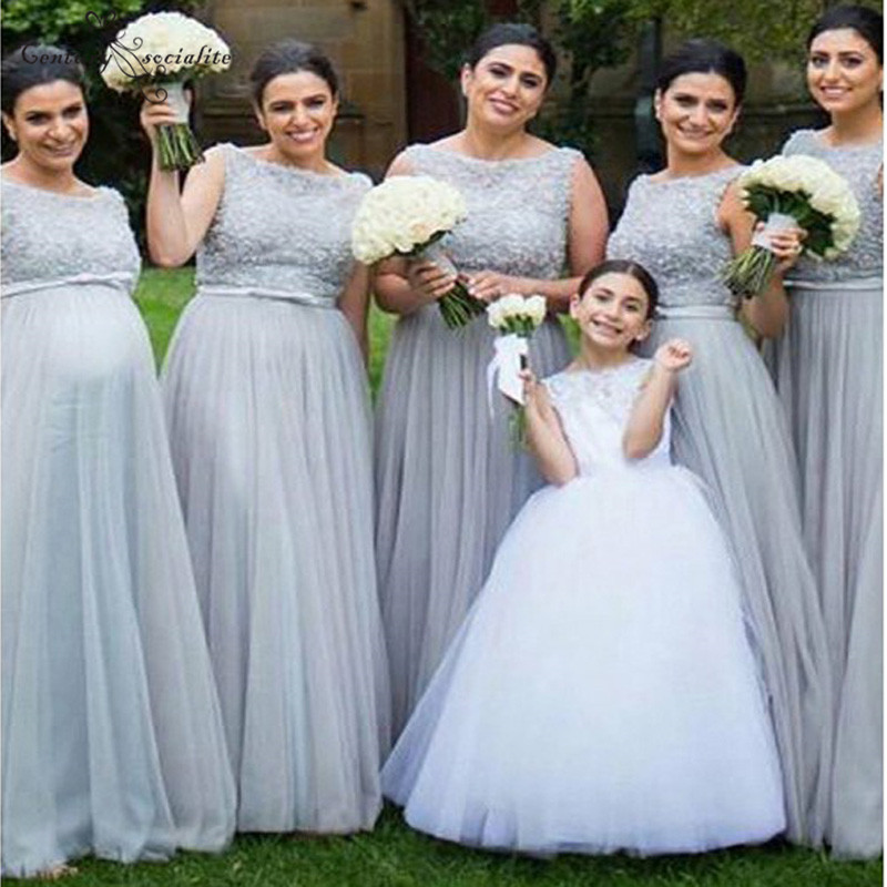 Open Back Gray   Bridesmaid     Dress   Long Lace Appliques Beaded A-line Tulle 2019 Maid Of Honor   Dress   Prom   Dress   Wedding Guest Gowns