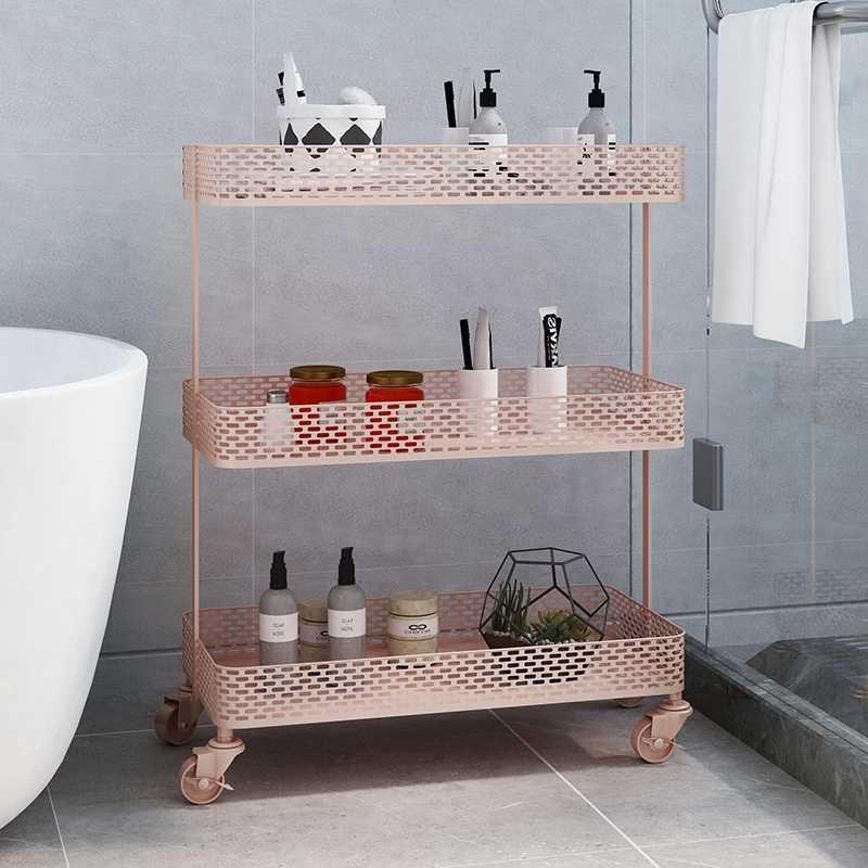 CJH Nordic Wrought Iron Floor Racks Bedroom Bedside Living Room Storage Shelf Sandwich Multi-Layer Magazine Shelf White