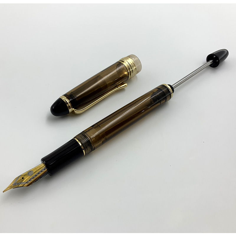 Wing Sung Brown Translucent Vaccum Filling Fountain Pen Fine Nib With Simple Box School Student Writing Stationery Ink Pens