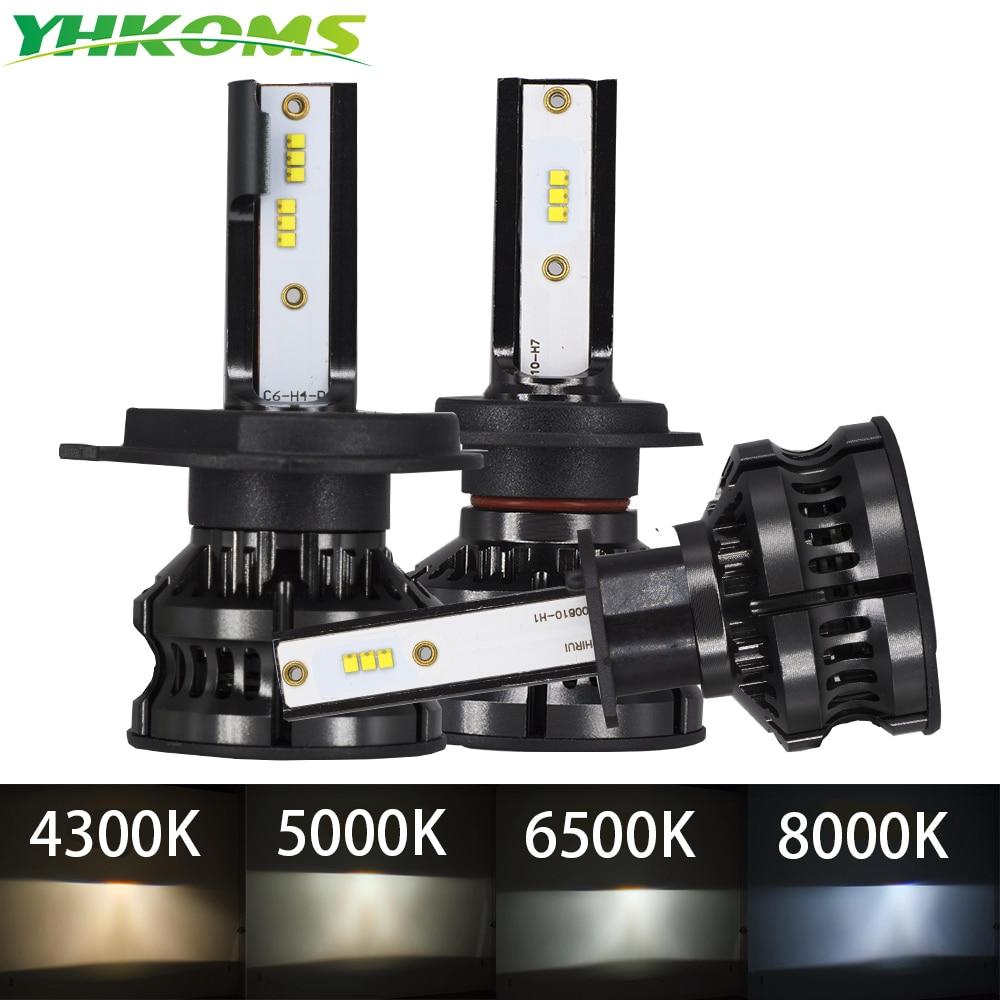 Светодиодный противотуманный светильник YHKOMS H4, 4300K ZES H1 H7, светодиодный светильник 5000K 8000K H8 H9 H11 9005 HB3 9006 HB4 H3 80 Вт 16000LM, 12 В 6500 К