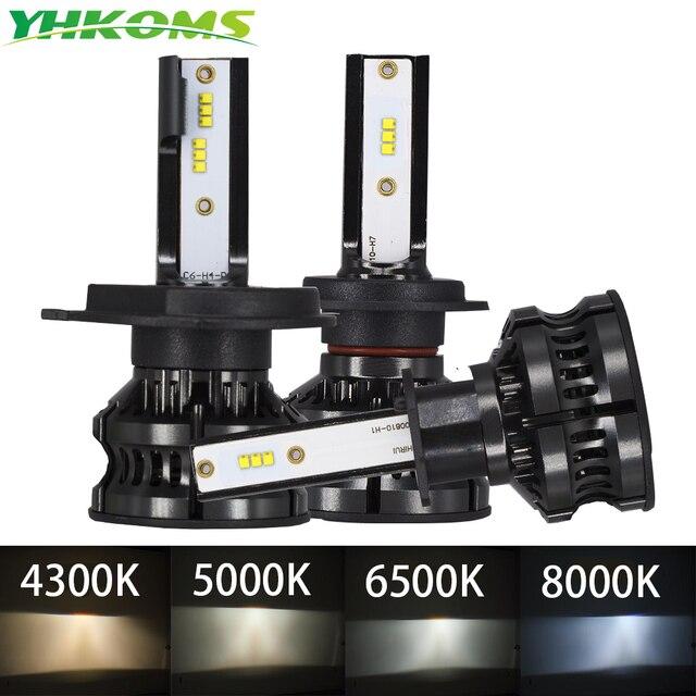 YHKOMS H4 Led 4300K ZES H1 H7 LED 5000K 8000K H8 H9 H11 9005 HB3 9006 HB4 H3 80W 16000LM سيارة المصباح السيارات الضباب ضوء 12V 6500K