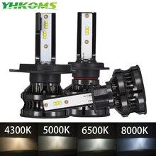 YHKOMS Luz Led antiniebla para faro delantero de coche, LED H4 4300K ZES H1 H7 5000K 8000K H8 H9 H11 9005 HB3 9006 HB4 H3 80W 16000LM, 12V 6500K