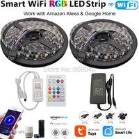 12 В 5050 черная печатная плата Гибкая светодиодная лента RGB 60 светодиодный/M + Tuya Smartlife Wifi управление Лер Alexa Google Home Голосовое управление + компле...