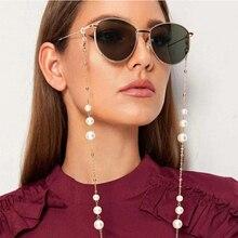 Элегантный ручной работы с жемчужными бусинами очки цепи женские солнцезащитные очки ремешок для чтения очки с цепочкой Висячие очки аксессуары
