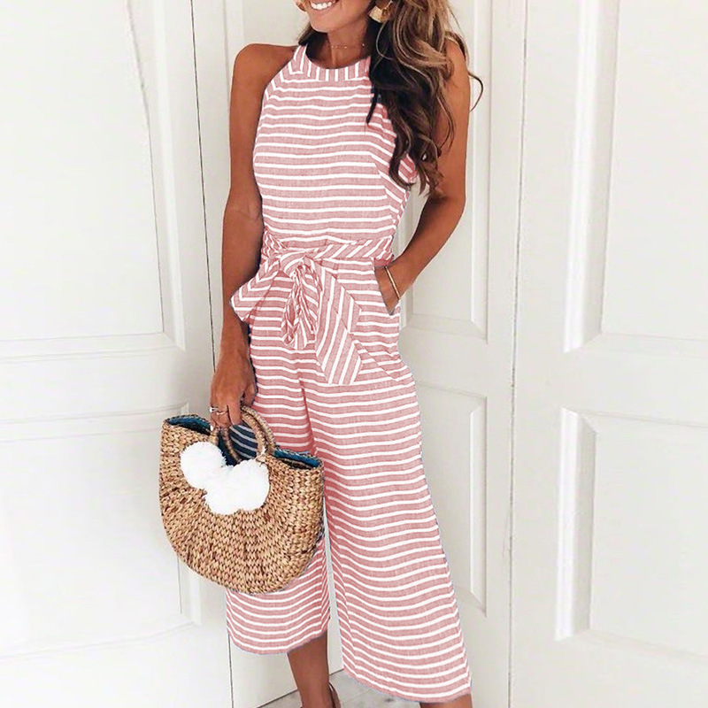 Rompers Women Striped Printed Lace-up Pocket O-neck Sleeveless Long Wide Leg Pants Summer Black Pink Overalls Fashion Female