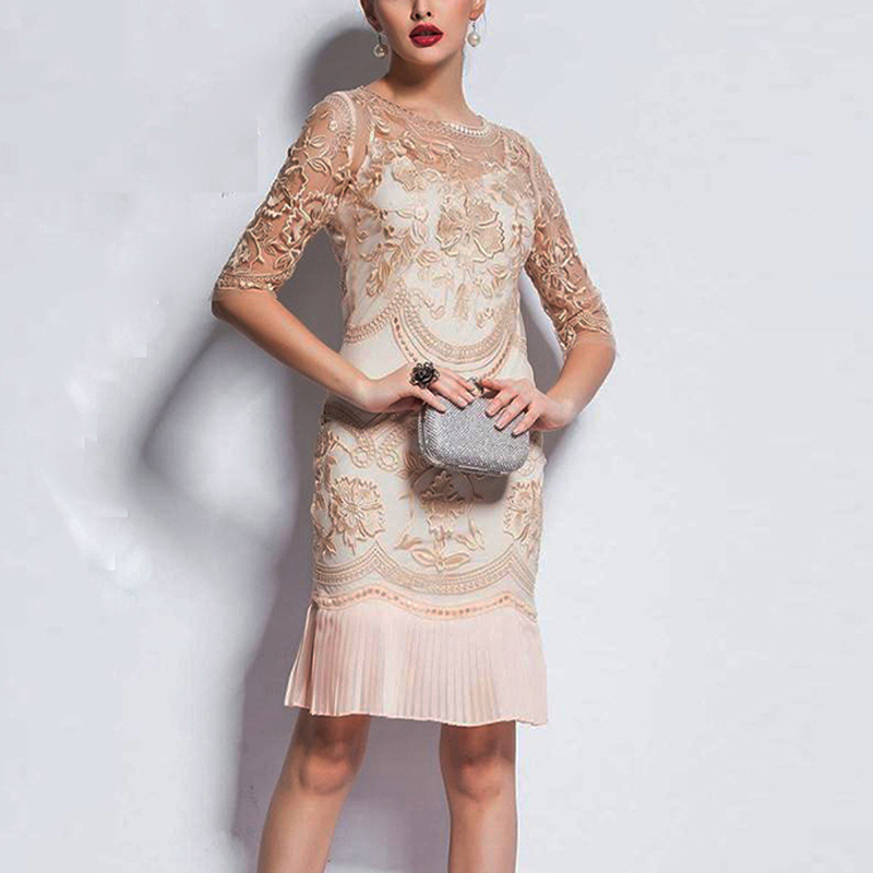 New Embroidery <font><b>Dresses</b></font> Runway Floral Patchwork <font><b>Dresses</b></font> For Women Vestido Casual Pleated <font><b>Dress</b></font> image