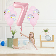40 Inch Big Foil happy Birthday Balloons Princess Pink/blue Number Latex Balloon 1st Birthday Party Decorations Kid Baloons 30 40 inch rose gold silver foil number balloons birthday party decor air helium number globos kid baloons birthday balon