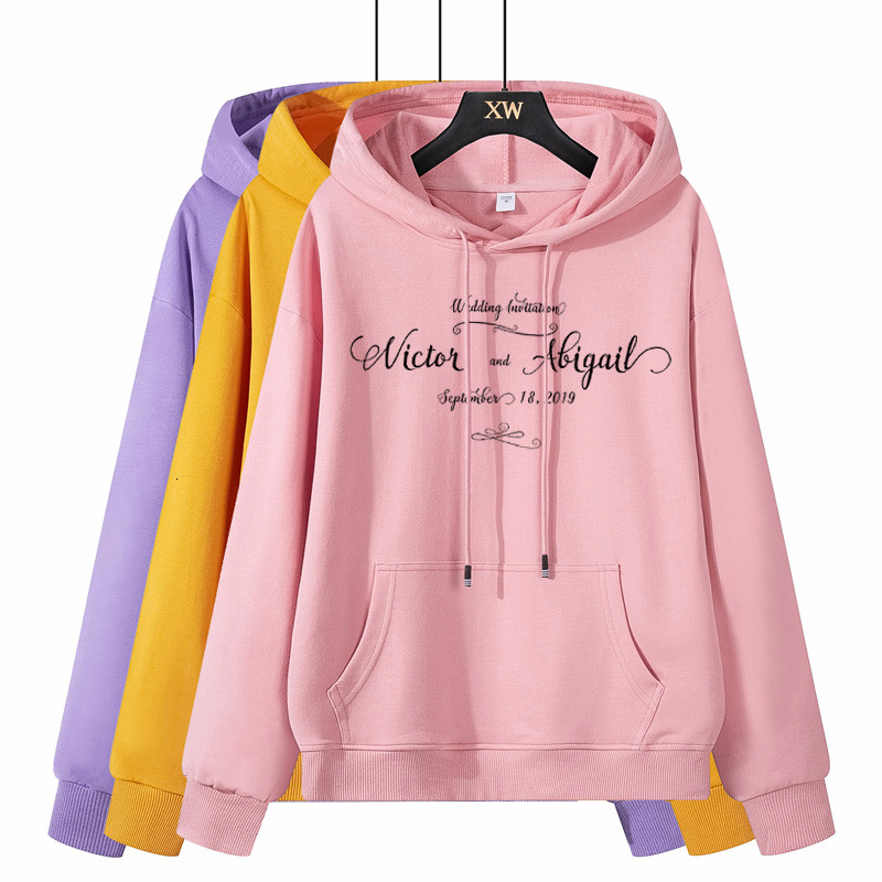 2019 New Hoody Pink Printed Hooded Sweatshirt Ladies Long Sleeve Fall Cotton Female Casual Tops Hoodies Women Fashion Moletom