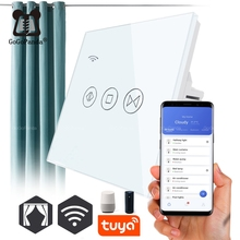 Free Shipping EU Standard Electric Wall Curtain Controller Smart Home Automation Touch Switch Open Pause Close Tuya app