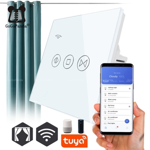 Image 1 - Free Shipping EU Standard Electric Wall Curtain Controller Smart Home Automation Touch Switch Open Pause Close Tuya app