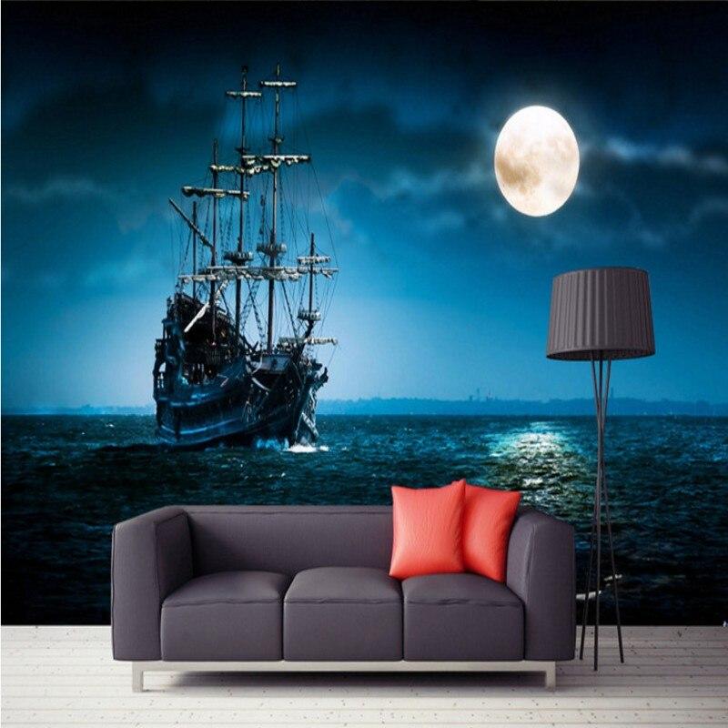 Drop Shipping Custom Photo Wallpaper Beautiful Sailboat Moonlight Scenery Custom Murals Bedroom Decorative Background Wallpaper