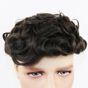 Image 3 - Peluca de cabello humano brasileño para hombre peluquín de aspecto Natural con encaje suizo completo, reemplazo de Peluca de cordón, Remy