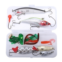 21Pcs Iscas De Pesca Definido Minnow Mista Alicate Aperto Kit Na Caixa Colher Ganchos Isca Macia Isca Artificial Isca de Pesca Pesca