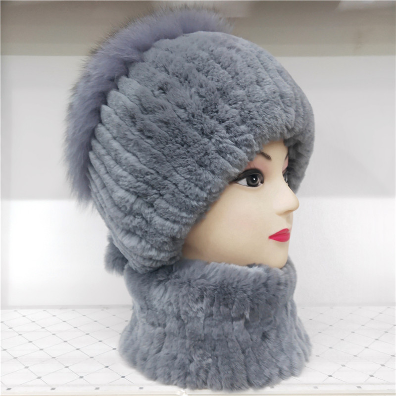 Women's Fur Hat Russian Knitted Hat Scarf Women's Winter Hat Made Of Rabbit And Fox Fur Hat Made Of Real Fur Winter Women's Ski