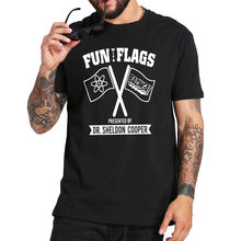 Camiseta do grande bang theory divertida com bandeiras, conjunto de camiseta sheldon cooper, tamanho da ue, 100% algodão