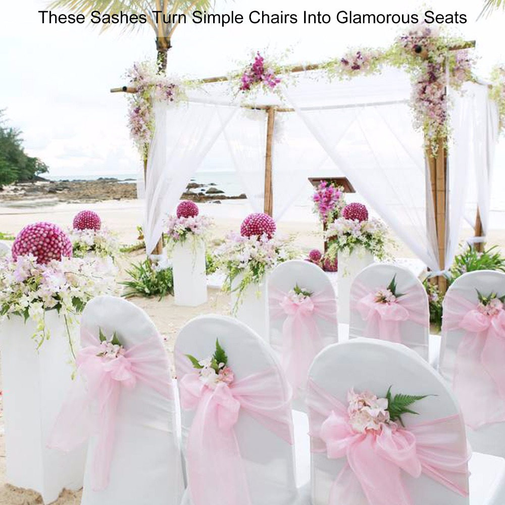Organza Chair Sash Bows For Wedding Banquet Party Decor Events Navy Blue 50