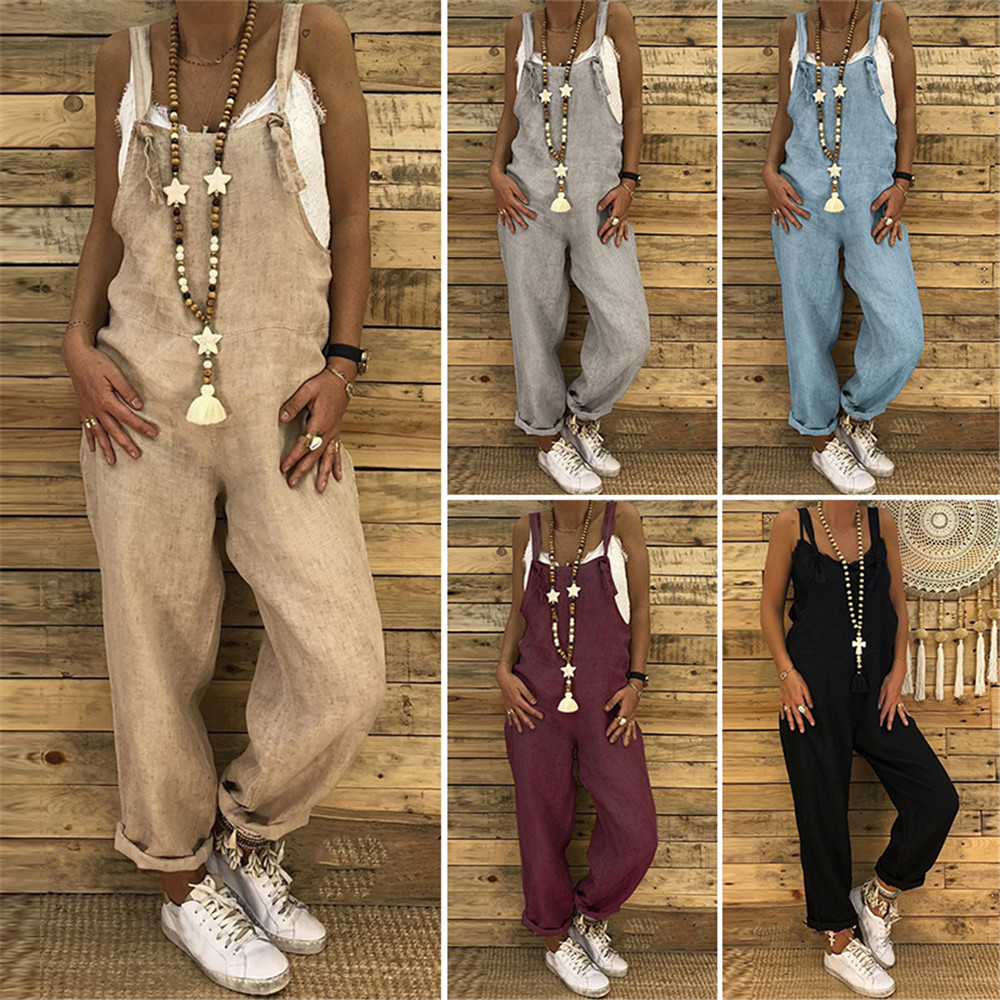 Women Casual Solid Jumpsuits Strappy Dungarees Vintage Cotton Linen Loose Harem Bib Overalls Wide Leg Pant Lace Up Long Rompers