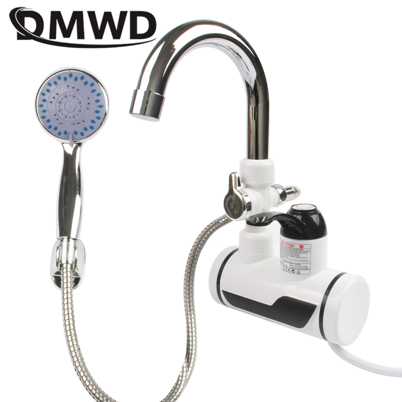 DMWD Electric Kitchen Water Heater Tap Instant Hot Water Faucet Heater Cold Heating Faucet Tankless Instant Water Heater White