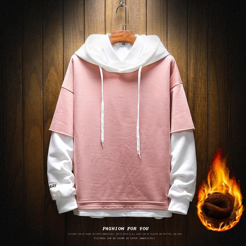 Pullover Plaid Long Sleeve fleece Hoodies Shirts Mens Hip Hop hoody hoodies Casual Shirts Fashion  japanese streetwear 2
