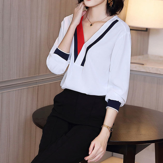 Women's Spring Summer Style Chiffon Blouses Shirt Women's V-Neck Three Quarter Sleeve Splicing Korean Elegant Tops DD9036 4