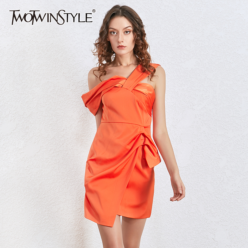 TWOTWINSTYLE Asymmetrical Party Women Dress Slash Neck High Waist Irregular Ruched Dresses For Female Clothing 2020 Fashion Tide