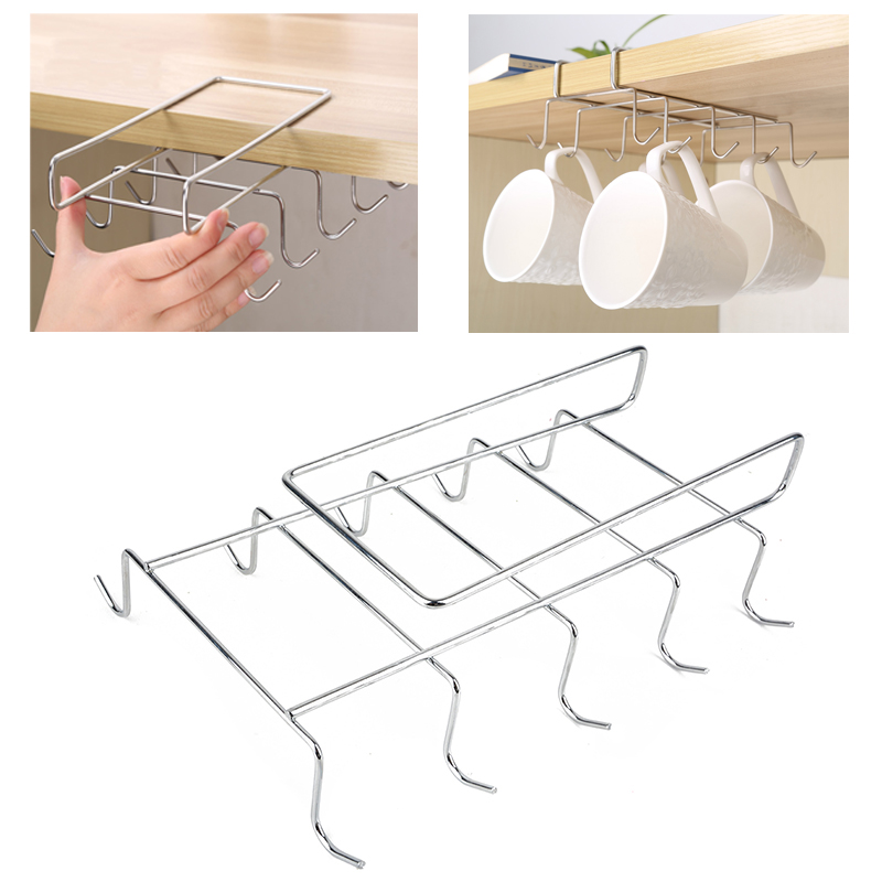 10 Hooks Stainless Steel  Kitchen Rack Cupboard Hanging Tumbler Holders Coffee Tea Cup Mug Holder Shelf For Insetting Cup Holder