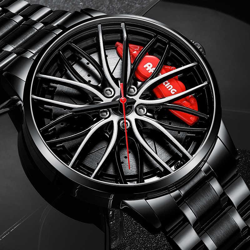 Nektom relógio de aro de carro esportivo masculino, relógios hub para roda de carro, design personalizado, esportivo, à prova d' água, criativo relógio de pulso