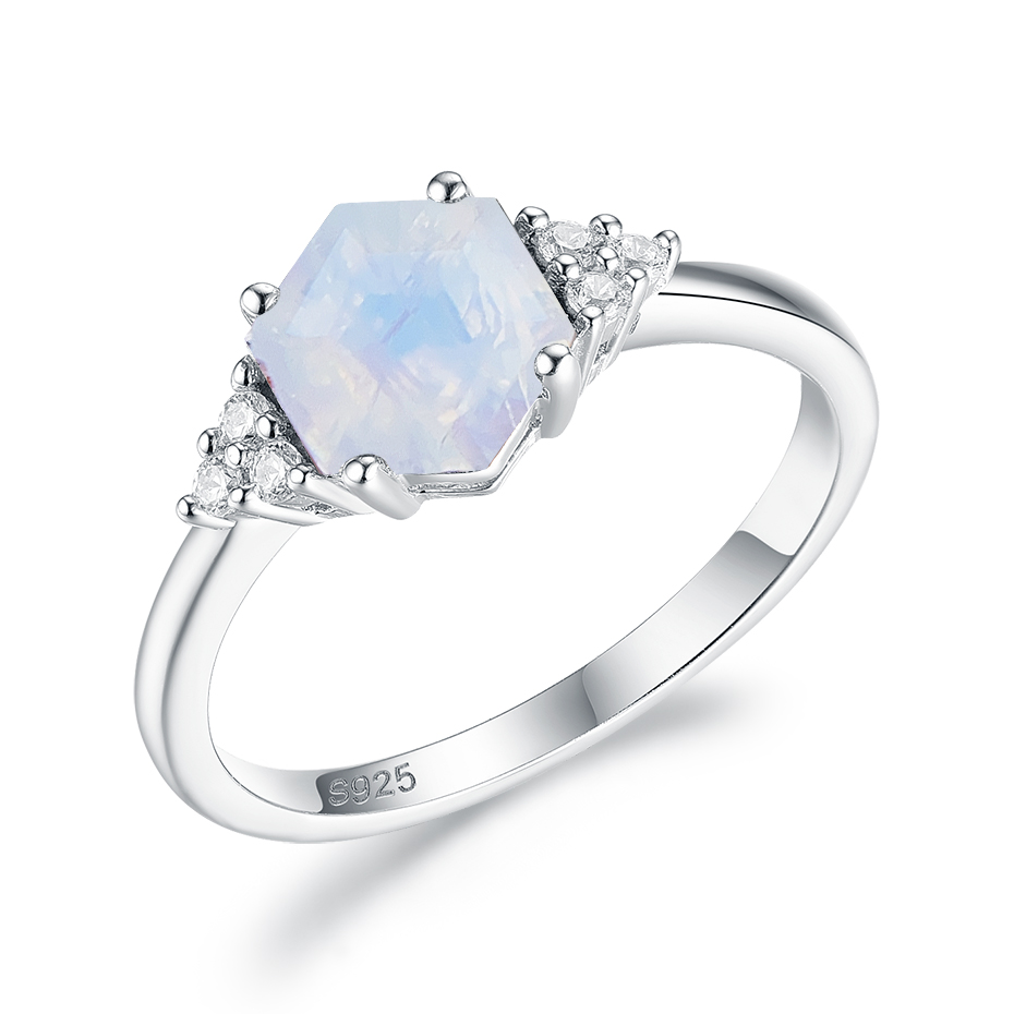 Kuololit 585 Rose Gold Rainbow Moonstone Gemstone Ring for Women 925 Sterling Silver Hexagon Natural Gemstone Ring for Romantic