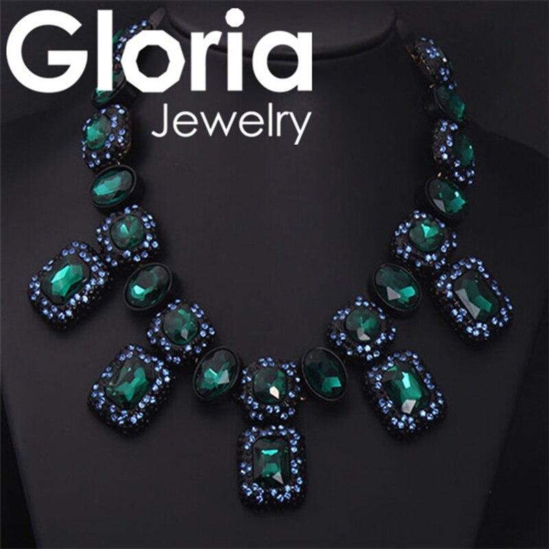 Dvacaman Fashion Women Rhinestone Necklaces Pendants Link Chain Double Layers Big Crystal Choker Necklace High Quality Jewelry