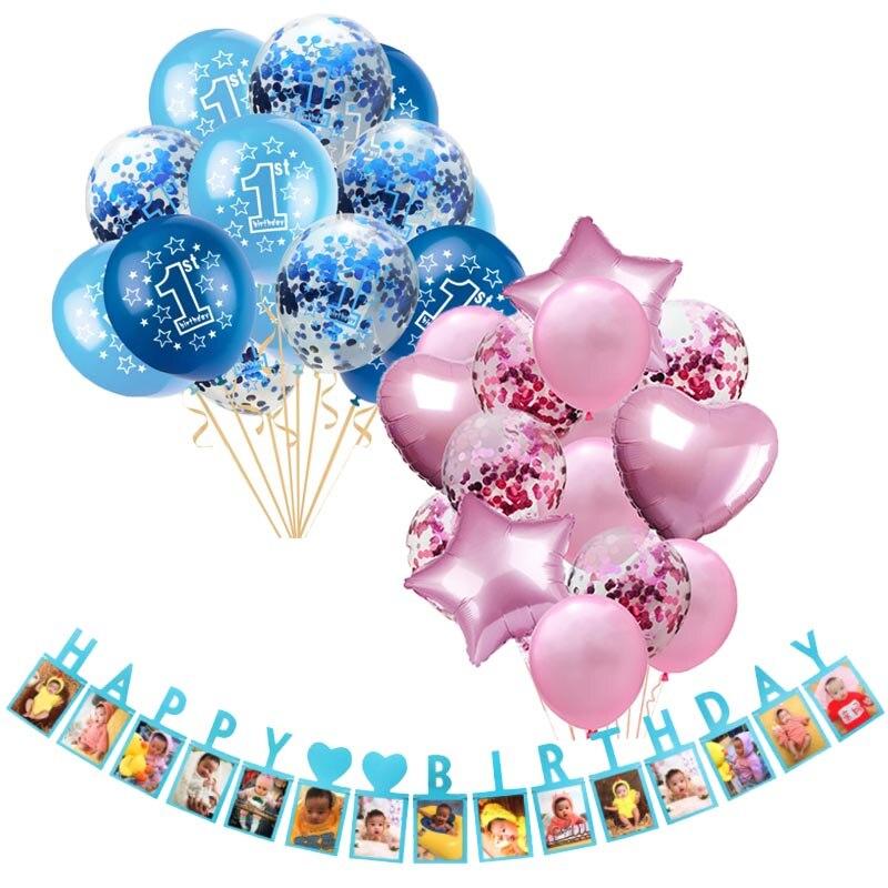 Ans Garçon Fille Confettis Ballon Latex Ballons Set 1st Anniversaire Baby Shower