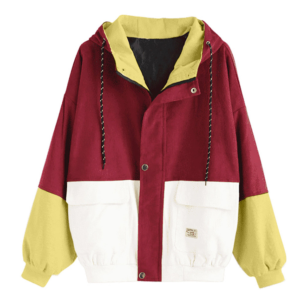 H267e09a0bc8c48a292b5485df9ed5154n Women color block Long Sleeve Corduroy Women jackets Patchwork Autumn women Jackets plus size women button female coat FC
