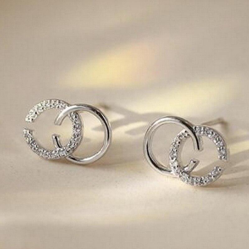 MinneWorld B Class Quality Double Letter C Earring For Women Fashion Designer Custom Jewelry  #FK001