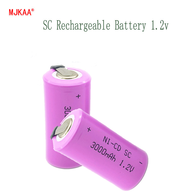 MJKAA <font><b>1.2V</b></font> <font><b>rechargeable</b></font> <font><b>battery</b></font> 3200mah 4/5 <font><b>SC</b></font> Sub C ni-cd cell with welding tabs for electric drill screwdriver image