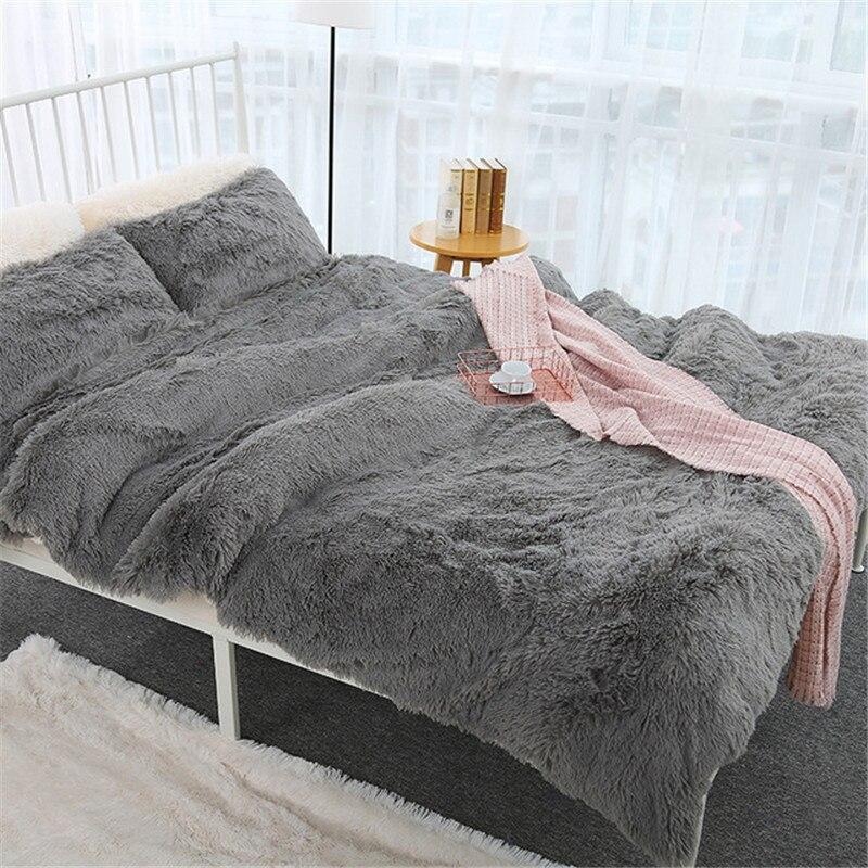 Cheveux longs ensemble de housse de couette 150*200cm RU famille literie chaud polaire gris couverture couvre-lits housse de couette + taie d'oreiller 3 pièces/ensemble