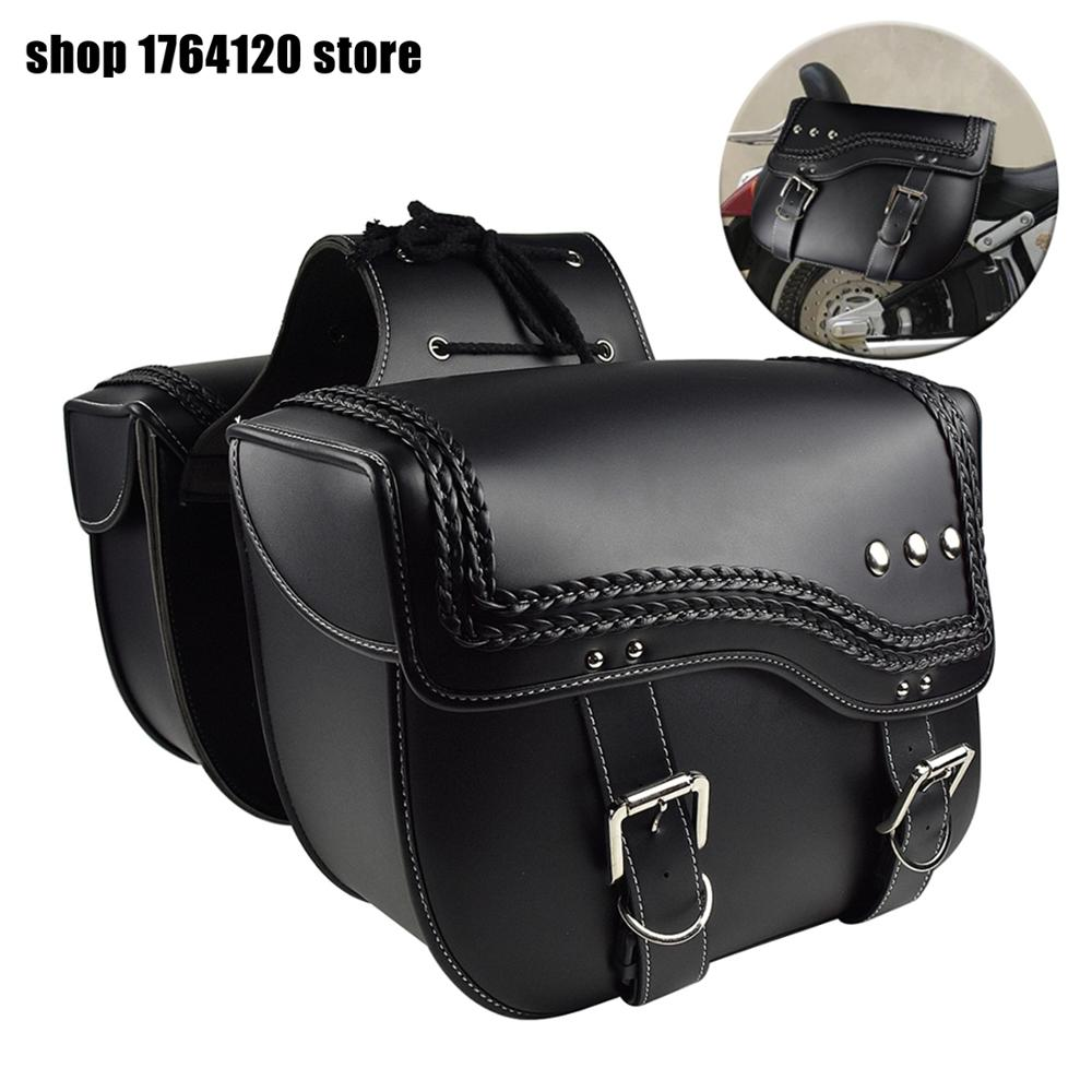Left Right Universal PU Leather Motorcycle Saddlebag For Harley Sportster XL 883 XL 1200 Side Tool Bag For Honda For Suzuki