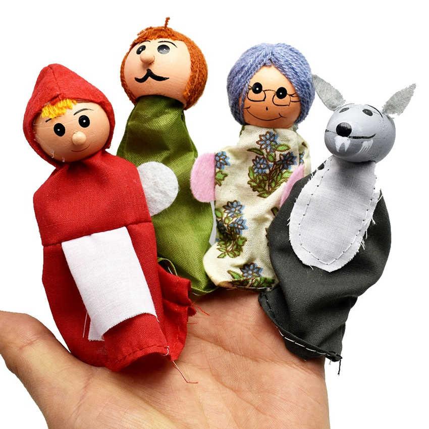 4 ชิ้น/ล็อตขายร้อนเด็กของเล่นเด็กตุ๊กตาตุ๊กตาตุ๊กตาตุ๊กตาตุ๊กตาตุ๊กตาหุ่นมือ Hood ไม้หัว Fairy Tale Story หุ่นมือของเล่น