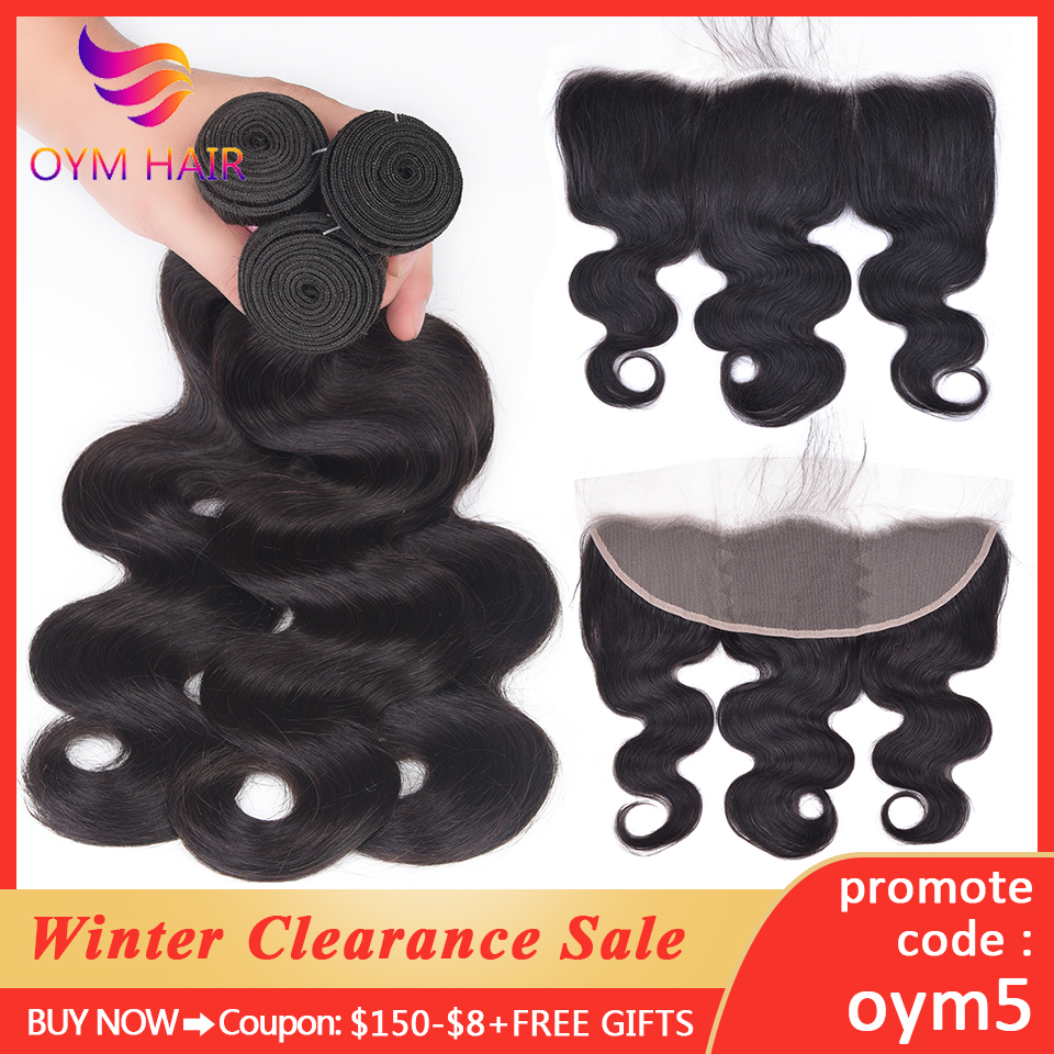 OYM HAIR 13x4 Lace Frontal With Bundles 8-26inch Remy Brazilian Body Wave Human Hair Bundles With Frontal Closure Hair Extension
