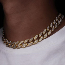 Hip Hop Miami Curb Cuban Chain Necklace 15MM 30inches Golden Iced Out Paved Rhinestones CZ Bling Rapper Necklaces Men Jewelry