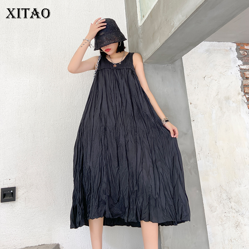 XITAO Casual Wrinkles Patchwork Dress Women 2020 Summer Tide Fashion New Style O Neck Collar Sleeveless Mid Calf Length GCC3637