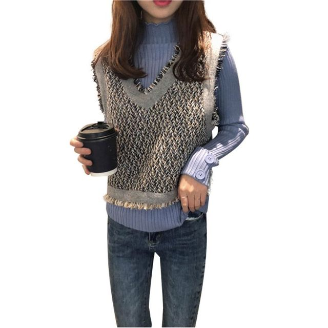 Autumn Winter Sweater Slim Sweet Sweater Stitching Color Pullover V-neck Loose Casual Sweater