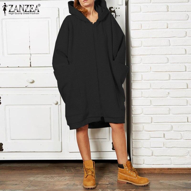 ZANZEA 2019 Women Long Sleeve Hoody Sweatshirt Casual Solid Hoodie Autumn Coats Big Pockets Sweatshirts Zip Up Outwear Plus Size
