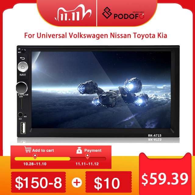 "Podofo Car Multimedia Player GPS Navigation Andriod 2 din 7"" Universal Bluetooth Audio Stereo Receiver for VW KIA Hyundai Toyota"