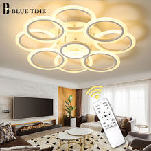 White Rings Modern Led Chandelier Living room Bedroom Dining room Luminaires Metal Ceiling Mounted Chandelier Lighting Fixtures(China)
