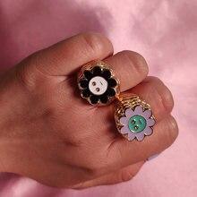 Flatfoosie – bagues géométriques en métal couleur or pour femmes, bijoux à fleurs en émail, joli visage souriant, mode coréenne, cadeau, 2021