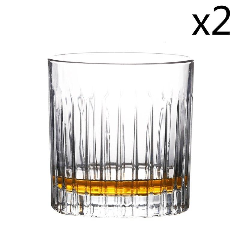 Западная классика, вертикальное зерно, старомодный стеклянный бар для виски, для домашнего офиса, Спиртные напитки, бокалы для вина, бокалы - Цвет: 2 Pcs