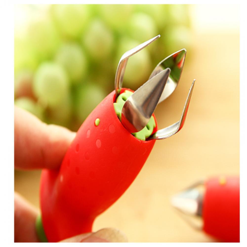 1 pcfraise tige feuilles décortiqueur enlèvement fruits Corer Gadgets de cuisine facile à utiliser et à nettoyer