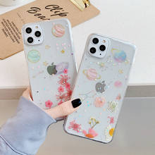 Glitter Real Dried Flower & Star Case For iPhone 11Pro Max XR XS Max X 8 7 6S Plus Transparent Soft TPU Bling Planet clear cover(China)